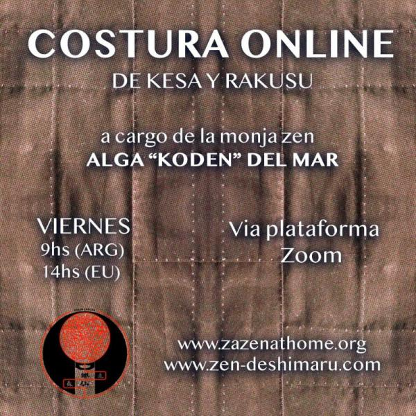 Sewing the kesa online with the zen nun Alga Koden del Mar