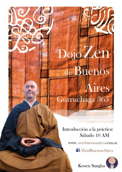 Dojo Zen de Buenos Aires, poster con Kosen y horario de introducción sábado 10 am
