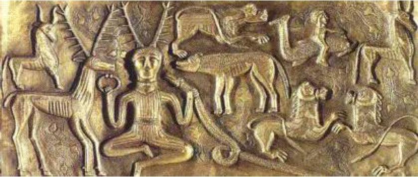 Prehistory of zen, zazen posture de zazen Cauldron from Gundestrup, Denmark, 1st century.