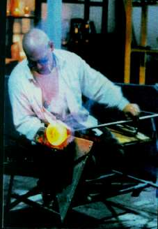 Jean Bélanger, zen monk and glass artist, at work