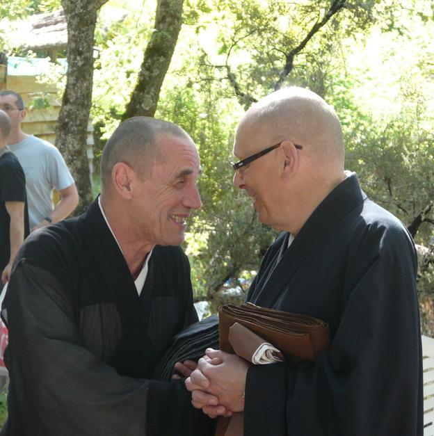 Mestro zen Keisen Vuillemin con el Maestro Myoken Bec