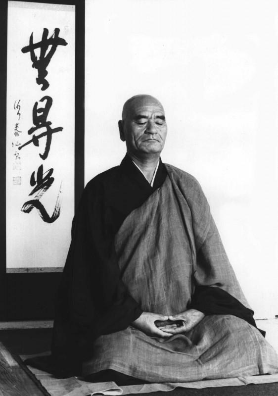 Master Taisen Deshimaru practicing zazen