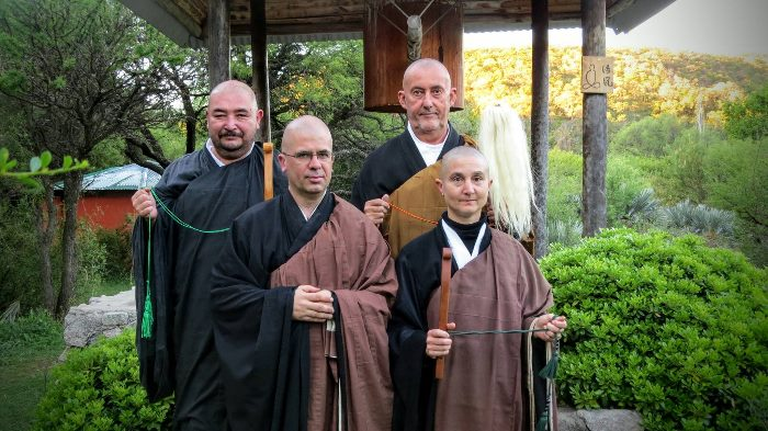 Master Kosen, Master Ryurin, Master Dosei and the monk Toshiro Tamauchi during the transmission Dharma