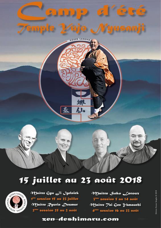 Camp d'été zen  2018 : 4 sessions de méditation zen avec la Sangha de Maitre Kosen