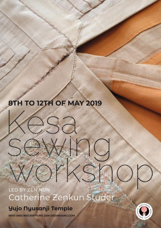 Sewing the Kesa 2019: Zazen the méditation Zen, Caroux Temple near of Montpellier
